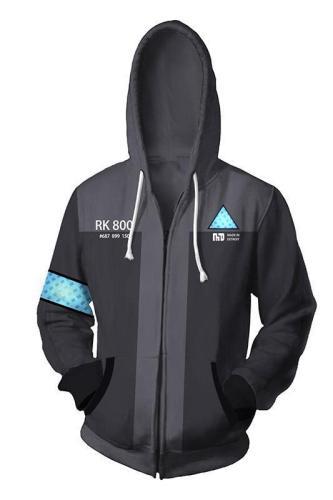 Detroit: Become Human Zip Up Hoodie Connor RK800 Hoodie Unisex Sweatershirt Gray
