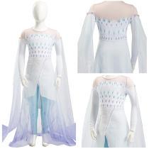 Frozen 2 Elsa Kid Child Ver Ahtohallan White Snow Ice Flake Dress Cosplay Costume