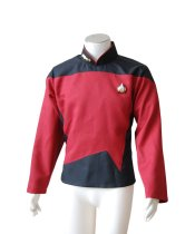Star Trek TNG Male Duty Uniform Outfit Suit Cosplay Costume Shirt Red