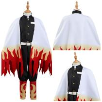 Demon Slayer: Kimetsu no Yaiba Kids Children Coat Pants Cloak Outfits Rengoku Kyoujurou Halloween Carnival Suit Cosplay Costume