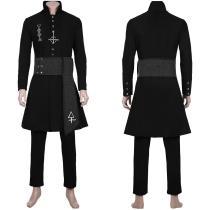 Nameless Ghoul Ghost B.C. Black Coat Props Cosplay Costume Halloween Full Set