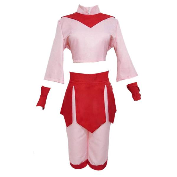 Anime Avatar The Last Airbender Ty Lee Cosplay Costume Adult Women Pink Dress Set Hanfu Halloween Carnival Wear