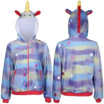 The Lovebirds Movie Leilani Unicorn Hoodie Zipper Zip Up Jacket Coat Cosplay Costume