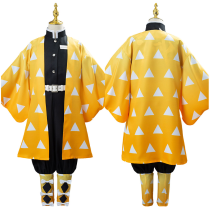 Anime Demon Slayer Kimetsu no Yaiba Uniform Outfit Agatsuma Zenitsu Cosplay Costume for Kids Children