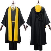Harry Potter Hufflepuff Robe Cloak Outfit School Uniform Cosplay Costume Halloween Carnival Costume