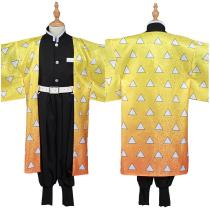 Demon Slayer: Kimetsu no Yaiba Kids Kimono Outfit Agatsuma Zenitsu Halloween Carnival Suit Cosplay Costume