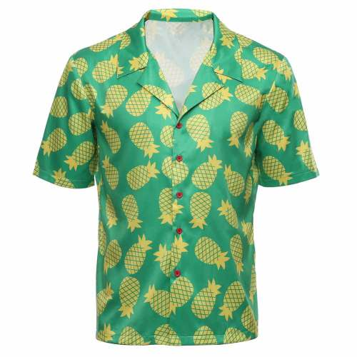 Game Animal Crossing Adult T Shirt Bud Cosplay Hawaiian Short Sleeve Shirts Costume Halloween Carnival Costume