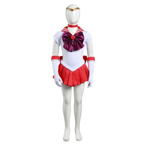 Anime Sailor Moon Kids Grils Dress Outfit Hino Rei Halloween Carnival Suit Cosplay Costume