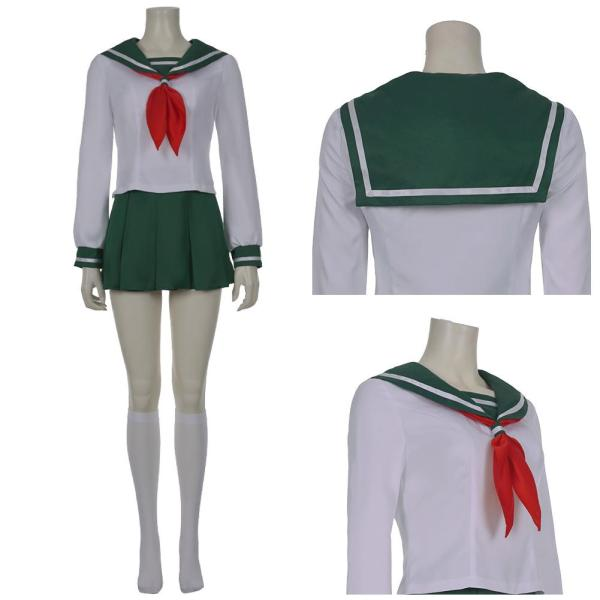 InuYasha Kagome Higurashi Anime Women Girls Uniform Skirt Outfit Cosplay Costume Halloween Carnival Costume