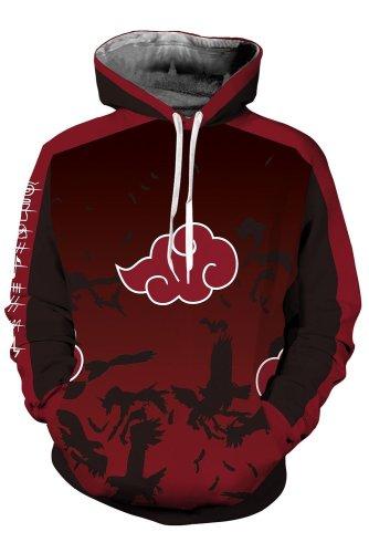 Naruto Hoodie Akatsuki Red Cloud Pullover Sweatshirt