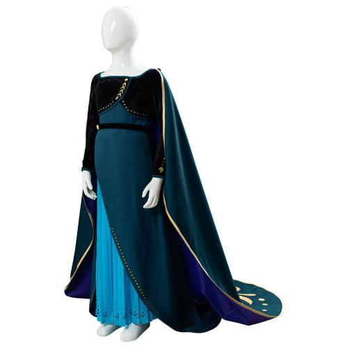 Princess Anna Frozen II 2 Coronation Queen Cape Cosplay Costume For Kids