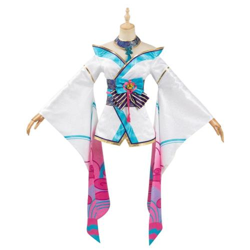 League of Legends LOL Women Kimono Dress Outfit Fox Ahri The Nine-Tailed Fox Halloween Carnival Suit Cosplay Costume