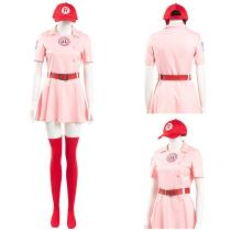 A League of Their Own Women Pink Dress Outfit Dottie Halloween Carnival Suit Cosplay Costume