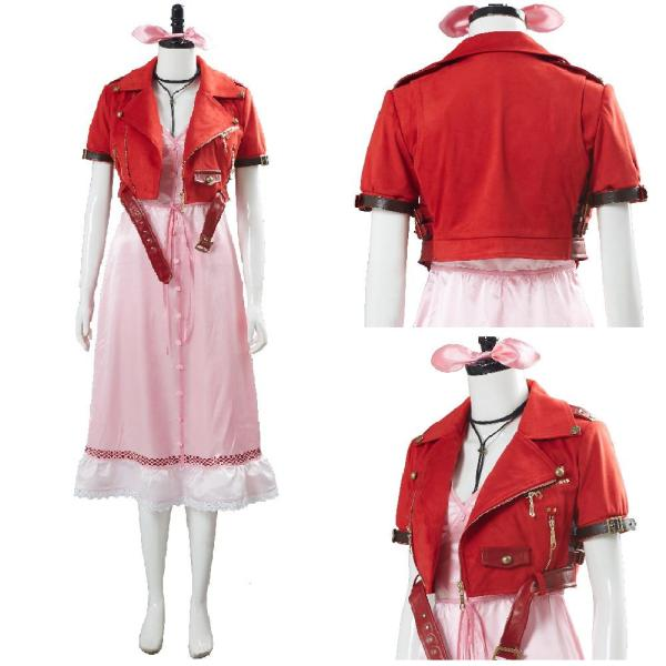 Final Fantasy VII 7 Aerith Aeris Gainsborough Pink Dress Cosplay Costume