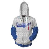 2019 Rocketman Elton John Dodgers Zip Up Hoodie Baseball Team Uniform Cosplay Costume