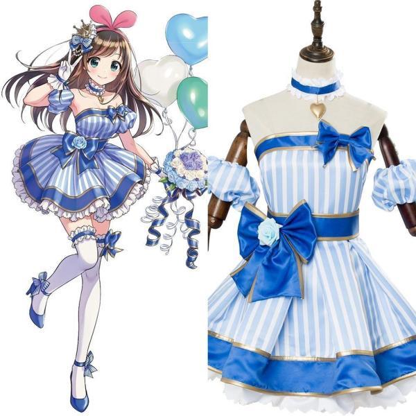 A.I.Channel Kizuna AI Cosplay Dress Costume Blue