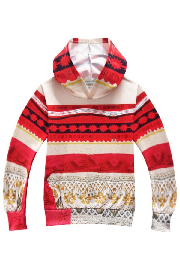 Hoodies for Girls Disney Moana Outfit 3D Pattern Sweatshirt for Kids Red