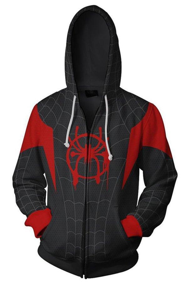Unisex Adult Hoodie Miles Morales Spider-Man 3D Printed Zip Up Hooded Sweatshirt