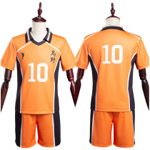 Haikyuu T-shirt Shorts Jersey Sports Wear Karasuno High School Hinata Shoyo No10 Uniform Two Piece Sets Cosplay Costume