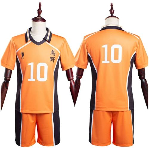 Haikyuu T-shirt Shorts Jersey Sports Wear Karasuno High School Hinata Shoyo No10 Uniform Two Piece Sets Cosplay Costume