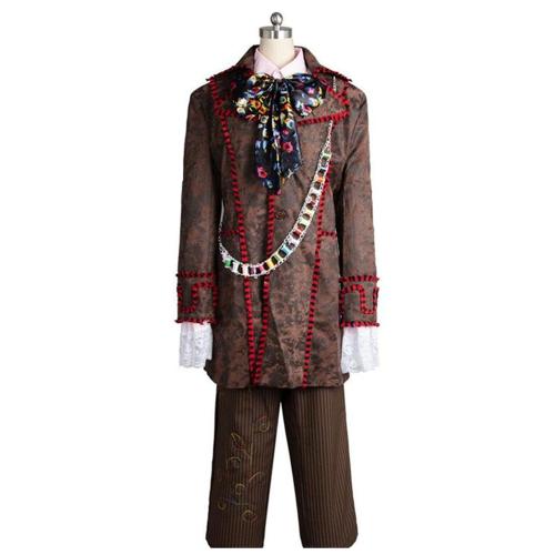 Alice In Wonderland Johnny Depp Mad Hatter Jacket Pants Tie 6 pcs Costume