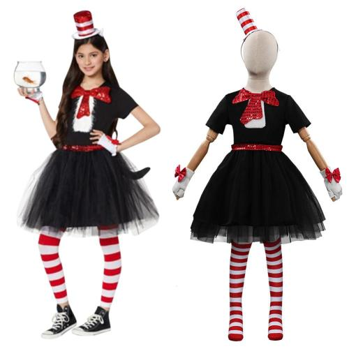 Kids Dr. Seuss - Cat in the Hat Dress Cosplay Costume Halloween Carnival Suit