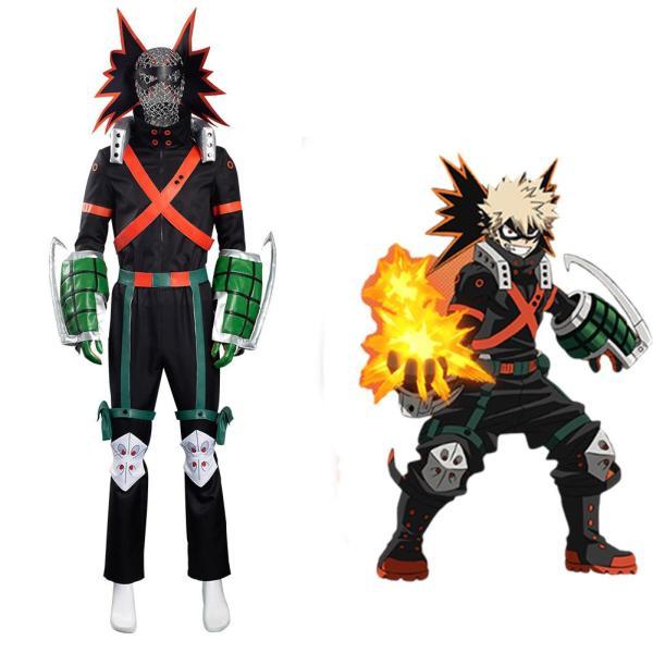 My Hero Academia S5 Bakugou Katsuki Cosplay Costume Battle Outfits Halloween Carnival Suit