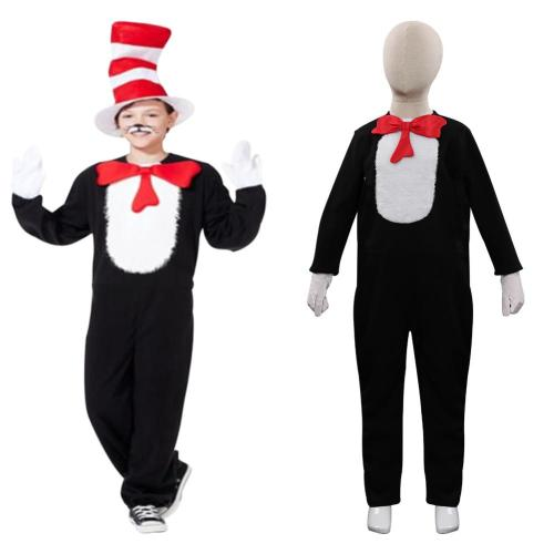 Dr. Seuss - Cat in the Hat One Cosplay Costume Kids  Children Halloween Carnival Suit