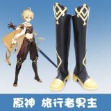 Genshin Impact Traveler  Cosplay Shoes Boots Halloween Costumes Accessory Custom Made