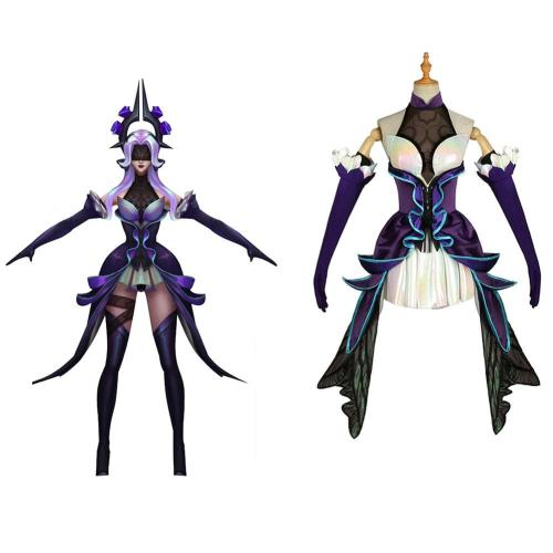 LoL The Dark Sovereign Syndra Withered Rose Cosplay Costume Outfits Halloween Carnival Suit