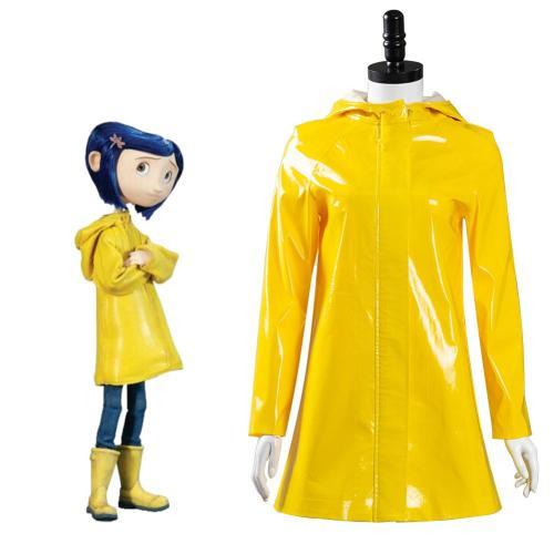 Coraline- Coraline Jones Cosplay Costume Outfits Yellow Coat  Halloween Carnival Suit