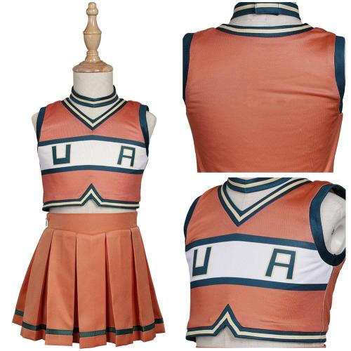 Kids Children My Hero Academia Cheerleader Uniform Asui Tsuyu/Ochaco Uraraka Cosplay Costume Outfits Halloween Carnival Suit