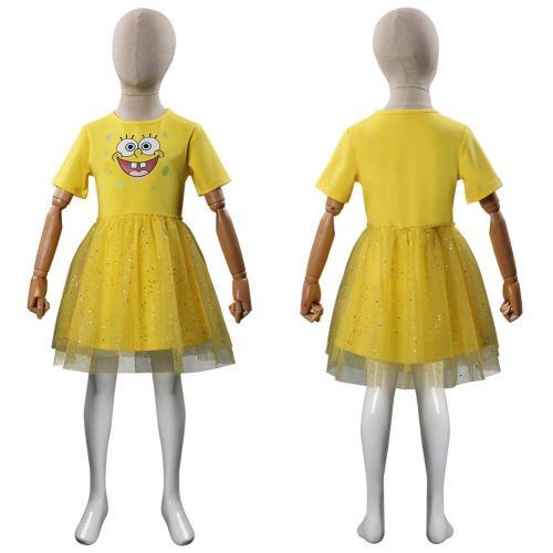 Kids SpongeBob SquarePants Cosplay Costume Yellow Dress Halloween Carnival Suit