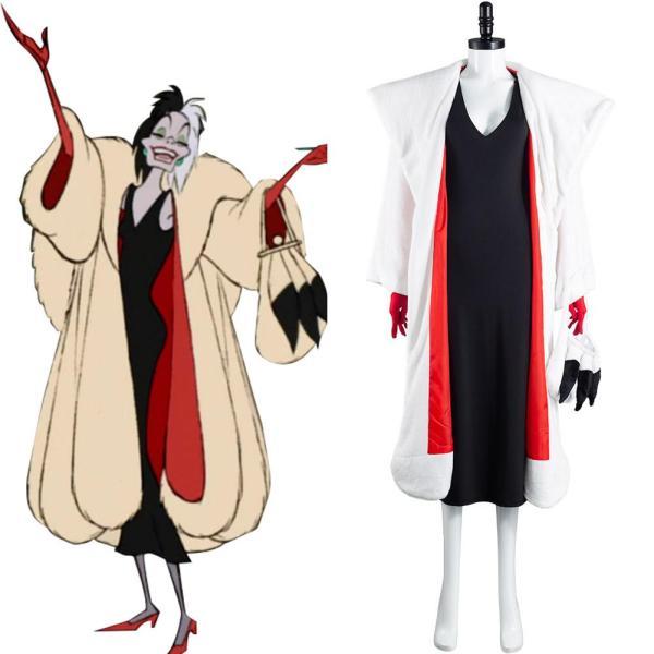 Cruella De Vil Cosplay Costume Dress Outfits Halloween Carnival Suit