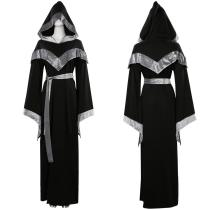Medieval Wizard Hooded Long Cloak Robe Cosplay Costume Outfit Halloween Carnival Suit