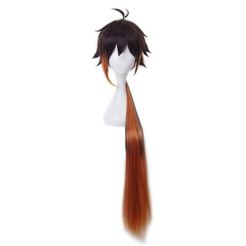 Genshin Impact Zhongli Cosplay Wig Heat Resistant Synthetic Hair Carnival Halloween Party Props