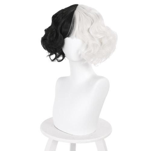 Cruella de Vil Cosplay Wig Heat Resistant Synthetic Hair Carnival Halloween Party Props