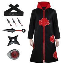 Anime Naruto Akatsuki Cloak Costume Headband Cosplay Accessories Props Ring Kunai Knife Throwing Darts In Hand Ninjathrow Set