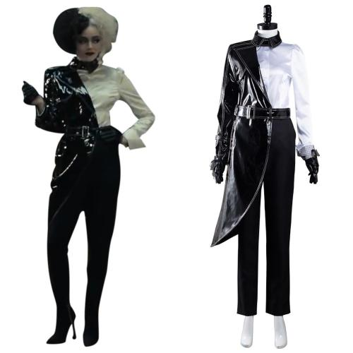 Cruella Cosplay Costume Black White Shirt Coat Pants Outfits Halloween Carnival Suit