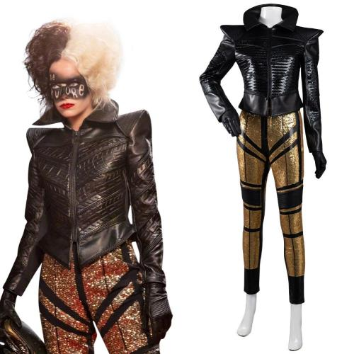2021 Movie Cruella Cosplay Costume Coat Pants Outfits Halloween Carnival Suit