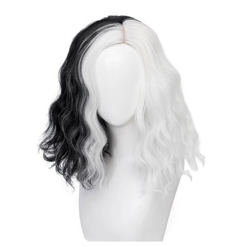 Cruella de Vi-Cruella Cosplay Wig Heat Resistant Synthetic Hair Carnival Halloween Party Props