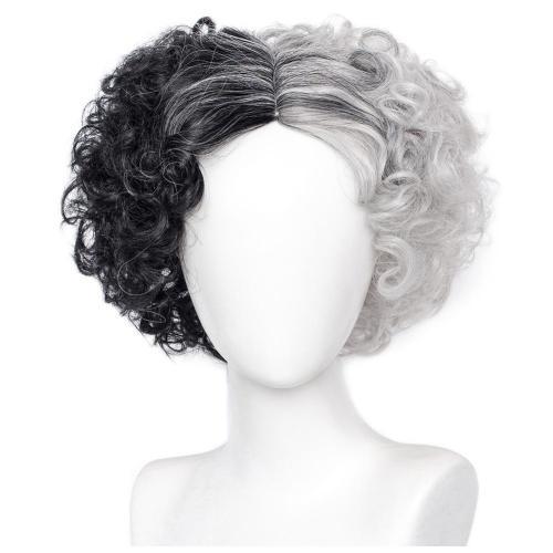 Cruella de Vi-Estella Cosplay Wig Heat Resistant Synthetic Hair Carnival Halloween Party Props