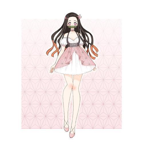 Pre-sale Kamado Nezuko Demon Slayer Lolita Dress Cosplay Costume