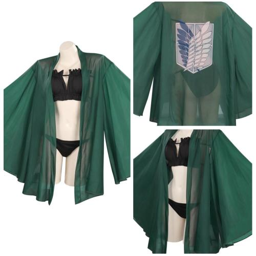 Attack on Titan Cosplay Costume Swimwear Cloak Outfits Halloween Carnival Suit