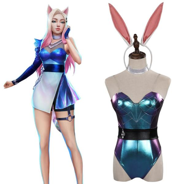 LoL KDA Cosplay Costume Bunny Girls  Jumpsuit  Outfits Halloween Carnival Suit
