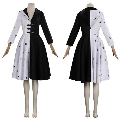 Cruella Cosplay Costume Dress Outfits Halloween Carnival Suit
