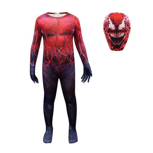Kids Children Venom Cosplay Costume Red Jumpsuit Mask Outfits Halloween Carnival Suit