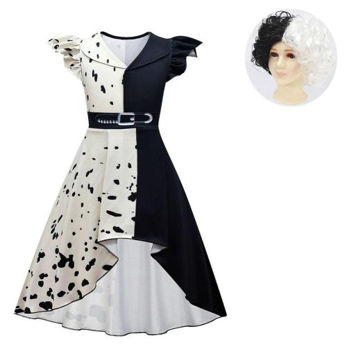 kids Girls Cruella Cosplay Costume Dress Wig Outfits Halloween Carnival Suit