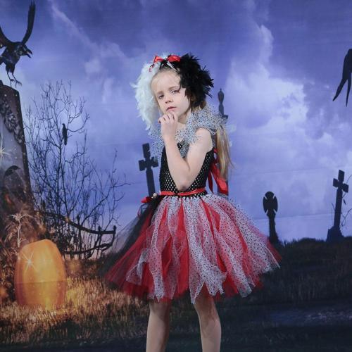 Kids Girls Cruella Cosplay  Costume  Tutu Dress Halloween Carnival Suit
