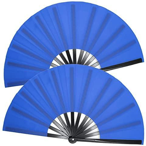 OMyTea Large Rave Folding Hand Fan for Men/Women - Chinese Japanese Kung Fu Tai Chi Handheld Fan with Fabric Case - for EDM, Music Festival, Club, Event, Party, Dance, Performance, Decoration (Black)